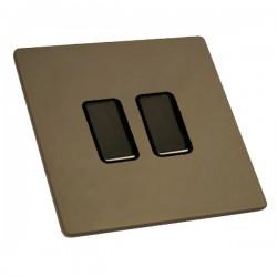 Hamilton Sheer CFX Richmond Bronze 2 gang Multi-Way Touch Slave Controller Trailing Edge, Black Nickel Br...