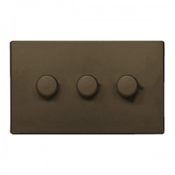 Hamilton Sheer CFX Richmond Bronze 3 gang 400W 2 Way Leading Edge Push On/Off Resistive Dimmer