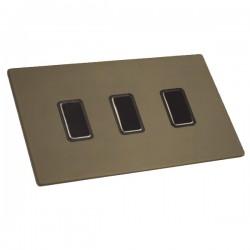 Hamilton Sheer CFX Richmond Bronze 3 gang Multi-Way Touch Slave Controller Trailing Edge, Black Nickel Br...