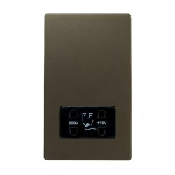 Hamilton Sheer CFX Richmond Bronze Vertical Dual Voltage Unswitched Shaver Socket with Black Insert