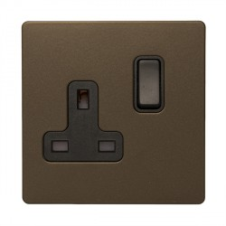 Hamilton Sheer CFX Richmond Bronze 1 gang 13A Double Pole Switched Socket with Richmond Bronze Insert with Black Surround