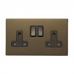 Hamilton Sheer CFX Richmond Bronze 2 gang 13A Double Pole Switched Socket with Richmond Bronze Insert with Black Surround