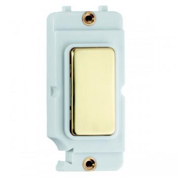 Hamilton Grid Fix Insert Blank Module Polished Brass/White with White Insert