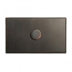 Hamilton Linea-Duo CFX Etrium Bronze with Etrium Bronze Frame 1 gang 1000W 2 Way Leading Edge Push On/Off Resistive Dimmer