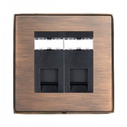 Hamilton Linea-Duo CFX Copper Bronze with Copper Bronze Frame 2 gang Unshielded RJ45 CAT 5E Outlet