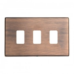 Hamilton Linea-Duo CFX Copper Bronze with Copper Bronze Frame 3 Gang Grid Fix Aperture Plate with Grid