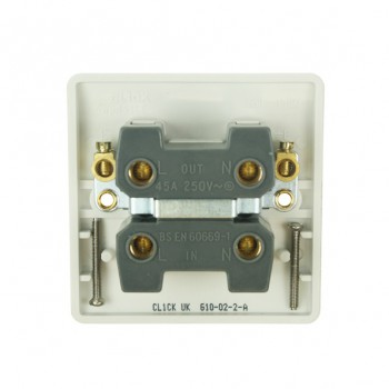 Click Mode Single 45amp White PVC Cooker Switch