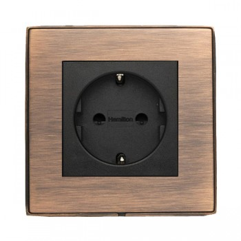 Hamilton Linea-Duo CFX Copper Bronze with Copper Bronze Frame 1 gang 10/16A 220/250V AC German Unswitched Socket