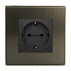 Hamilton Linea-Duo CFX Etrium Bronze with Etrium Bronze Frame 1 gang 10/16A 220/250V AC German Unswitched Socket
