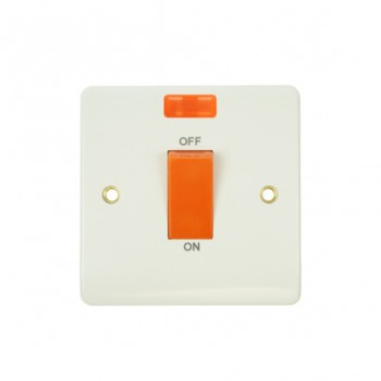 Click Mode Single 45amp White PVC Cooker Switch with Neon