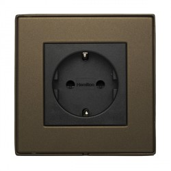 Hamilton Linea-Duo CFX Richmond Bronze with Richmond Bronze Frame 1 gang 10/16A 220/250V AC German Unswitched Socket