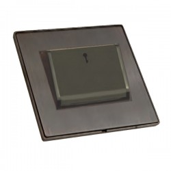 Hamilton Linea-Duo CFX Etrium Bronze with Etrium Bronze Frame 1 gang 10A (6AX) Card Switch On/Off with Blue LED Locator