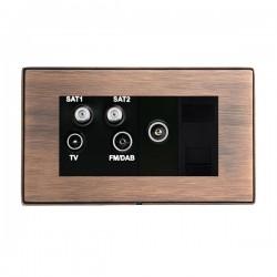 Hamilton Linea-Duo CFX Copper Bronze with Copper Bronze Frame Non-Isolated TV+FM+SAT1+SAT2 Quadplexer 2in/4out +TVF+TCS