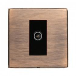 Hamilton Linea-Duo CFX Copper Bronze with Copper Bronze Frame 1 gang Non-Isolated Female TV Socket