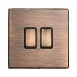 Hamilton Linea-Duo CFX Copper Bronze with Copper Bronze Frame 2 gang 10AX 2 Way Rocker