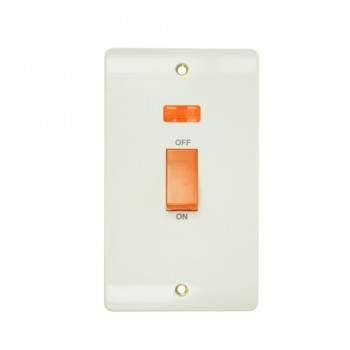 Click Mode Double 45amp White PVC Cooker Switch with Neon