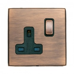 Hamilton Linea-Duo CFX Copper Bronze with Copper Bronze Frame 1 gang 13A Double Pole Switched Socket
