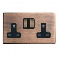 Hamilton Linea-Duo CFX Copper Bronze with Copper Bronze Frame 2 gang 13A Double Pole Switched Socket