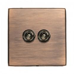 Hamilton Linea-Duo CFX Copper Bronze with Copper Bronze Frame 2 gang 20AX 2 Way Toggle