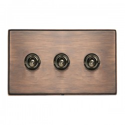 Hamilton Linea-Duo CFX Copper Bronze with Copper Bronze Frame 3 gang 20AX 2 Way Toggle