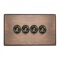 Hamilton Linea-Duo CFX Copper Bronze with Copper Bronze Frame 4 gang 20AX 2 Way Toggle
