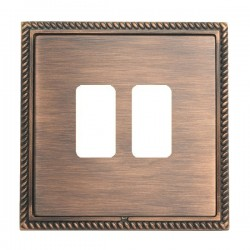 Hamilton Linea-Georgian CFX Copper Bronze with Copper Bronze Frame 2 Gang Grid Fix Aperture Plate with Gr...