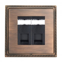 Hamilton Linea-Georgian CFX Copper Bronze with Copper Bronze Frame 2 gang Unshielded RJ45 CAT 5E Outlet