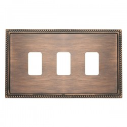 Hamilton Linea-Georgian CFX Copper Bronze with Copper Bronze Frame 3 Gang Grid Fix Aperture Plate with Gr...