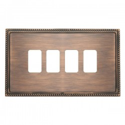 Hamilton Linea-Georgian CFX Copper Bronze with Copper Bronze Frame 4 Gang Grid Fix Aperture Plate with Gr...