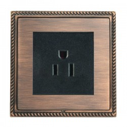 Hamilton Linea-Georgian CFX Copper Bronze with Copper Bronze Frame 1 gang 15A 110V AC American Unswitched Socket