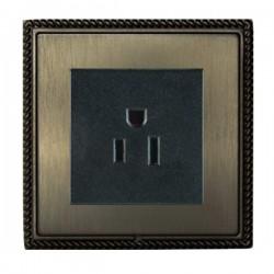 Hamilton Linea-Georgian CFX Etrium Bronze with Etrium Bronze Frame 1 gang 15A 110V AC American Unswitched Socket