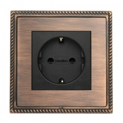 Hamilton Linea-Georgian CFX Copper Bronze with Copper Bronze Frame 1 gang 10/16A 220/250V AC German Unswitched Socket