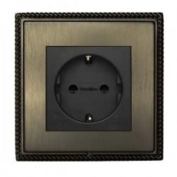 Hamilton Linea-Georgian CFX Etrium Bronze with Etrium Bronze Frame 1 gang 10/16A 220/250V AC German Unswitched Socket