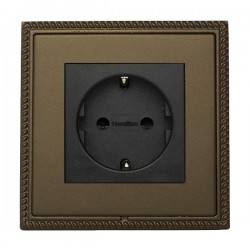 Hamilton Linea-Georgian CFX Richmond Bronze with Richmond Bronze Frame 1 gang 10/16A 220/250V AC German Unswitched Socket