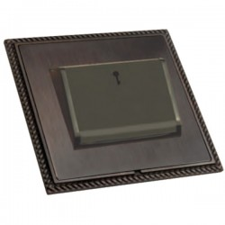 Hamilton Linea-Georgian CFX Etrium Bronze with Etrium Bronze Frame 1 gang 10A (6AX) Card Switch On/Off with Blue LED Locator