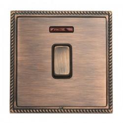 Hamilton Linea-Georgian CFX Copper Bronze with Copper Bronze Frame 1 gang 20AX Double Pole Rocker and Neon