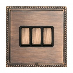 Hamilton Linea-Georgian CFX Copper Bronze with Copper Bronze Frame 3 gang 10AX 2 Way Rocker
