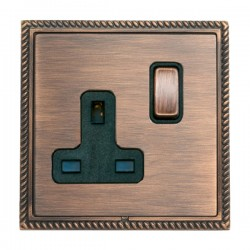 Hamilton Linea-Georgian CFX Copper Bronze with Copper Bronze Frame 1 gang 13A Double Pole Switched Socket
