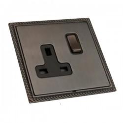 Hamilton Linea-Georgian CFX Etrium Bronze with Etrium Bronze Frame 1 gang 13A Double Pole Switched Socket
