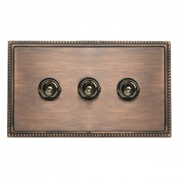 Hamilton Linea-Georgian CFX Copper Bronze with Copper Bronze Frame 3 gang 20AX 2 Way Toggle