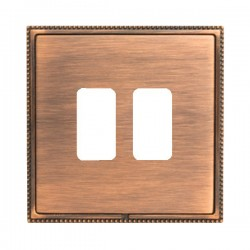 Hamilton Linea-Perlina CFX Copper Bronze with Copper Bronze Frame 2 Gang Grid Fix Aperture Plate with Grid