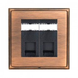 Hamilton Linea-Perlina CFX Copper Bronze with Copper Bronze Frame 2 gang Unshielded RJ12 Outlet