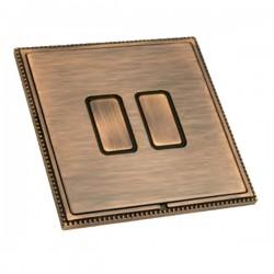 Hamilton Linea-Perlina CFX Copper Bronze with Copper Bronze Frame 2 gang 250W/210VA Multi-Way Touch Master Trailing Edge Dimmer