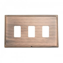 Hamilton Linea-Perlina CFX Copper Bronze with Copper Bronze Frame 3 Gang Grid Fix Aperture Plate with Grid