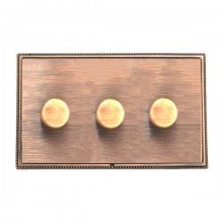 Hamilton Linea-Perlina CFX Copper Bronze with Copper Bronze Frame 3 gang 250W/210VA Multi-Way Trailing Edge Push On/Off Dimmer