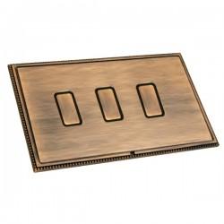 Hamilton Linea-Perlina CFX Copper Bronze with Copper Bronze Frame 3 gang 250W/210VA Multi-Way Touch Master Trailing Edge Dimmer