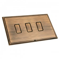 Hamilton Linea-Perlina CFX Copper Bronze with Copper Bronze Frame 3 gang Multi-Way Touch Slave Controller Trailing Edge