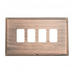 Hamilton Linea-Perlina CFX Copper Bronze with Copper Bronze Frame 4 Gang Grid Fix Aperture Plate with Grid