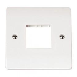 Click Mode Single Twin Aperture White PVC Mini Grid Module Plate