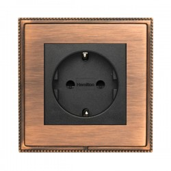 Hamilton Linea-Perlina CFX Copper Bronze with Copper Bronze Frame 1 gang 10/16A 220/250V AC German Unswitched Socket